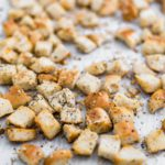 Don't let those day old bagels go to waste. Use them to make these delicious Everything Bagel Croutons for the most delicious salad topping.